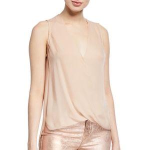 L'Agence Mila Silk Draped V-Neck Blouse